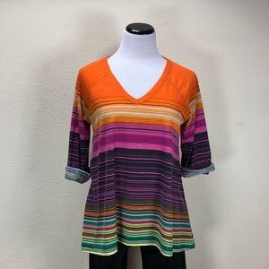 New Direction Multi Colored Striped Tunic